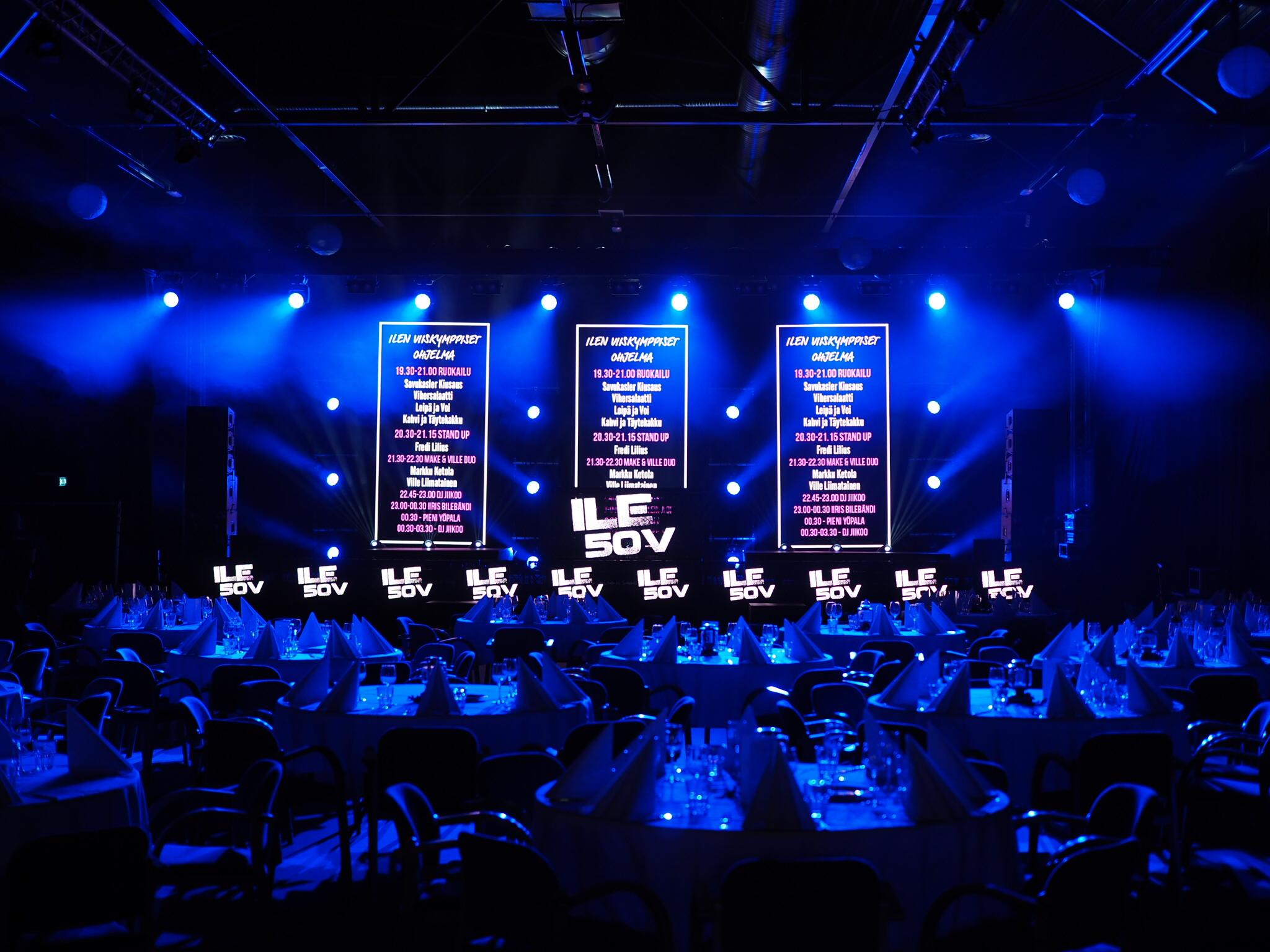 LED-Screen erikokoisina rakenteina juhlatoteutuksessa